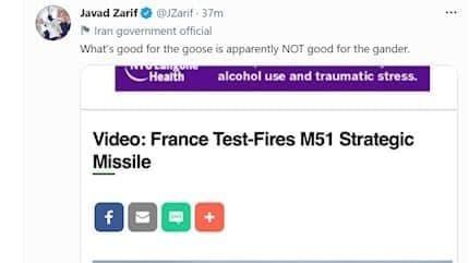 واکنش ظریف به آزمایش موشک بالستیک فرانسه + عکس