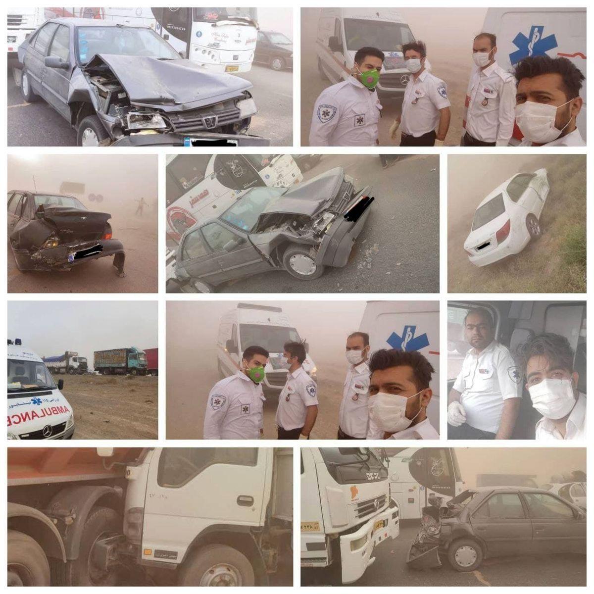 گردوخاک در مشهد حادثه آفرید/تصادف زنجیره ای ۲۰ خودرو در جاده نیشابور +تصاویر