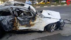 حادثه وحشتناک در تهران/سوختن دو مرد در بی ام و لاکچری+عکس