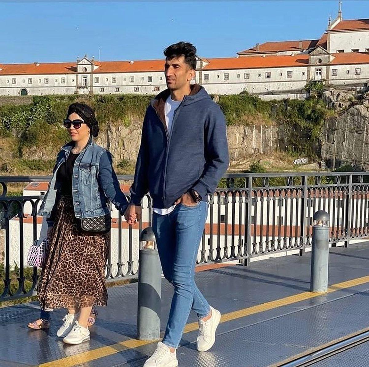 دوردور علیرضا بیرانوند با همسرش در اروپا + فیلم